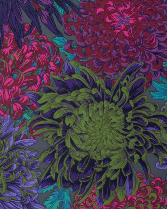 JAPANESE CHRYSANTHEMUM ANTIQUE Fall 2015 Philip Jacobs for Kaffe Fassett Collective Sold in 1/2 yd increments