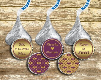 Hershey Kisses Stickers Wedding, Hershey Kiss Stickers, Gold Wedding Stickers, Plum Wedding, Purple and Gold Wedding, Kisses Labels