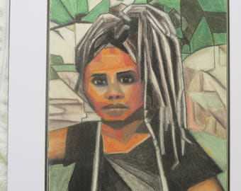 Girl with Dreadlocks Charcoal and Graphite Sticks