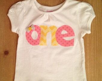Pink and Yellow Birthday Baby Bodysuit or Shirt