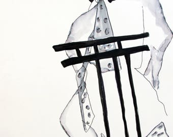 "Figure II- Original Ink Figure Drawing 18"" x 24"" Life drawing"