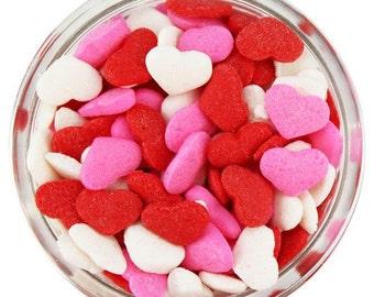 Heart Sprinkles 2 oz 4 oz 6 oz Certified Kosher Valentine's Cake Decorating Cupcake Cookies Cakepops Red Pink White
