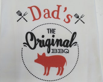 Personalized BBQ flour sack Tea Towel
