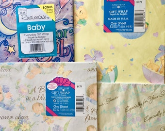 Lot of 4 NIP New Baby Wrapping Paper Gift Wrap // New Old Stock NOS 1980's 1990's Retro Baby Shower // Unused Brand New