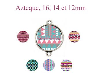 Aztec pattern print of digital images for 16mm and 14mm and 12mm round cabochon