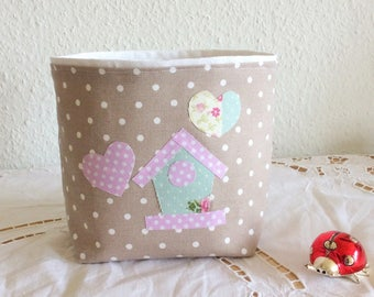 Empty pouch child, basket, basket small hearts, basket taupe and pink kids room