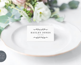 Monogram wedding place cards, modern black and white place cards, wedding name cards, wedding guest names, wedding table decor