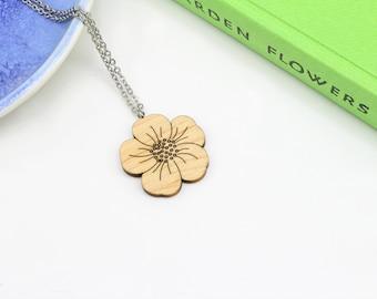 Bouton d'or collier | Découpé au laser, la Nature & fleurs bijoux