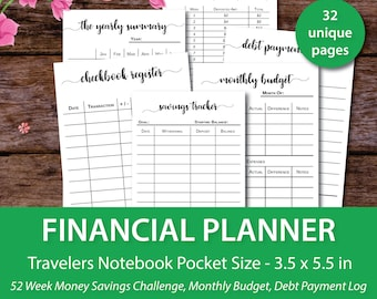 Printable Financial Planner, Budget Planner Printable, Travelers Notebook Pocket Insert,Pocket Travelers Notebook Inserts, Expense Tracker,
