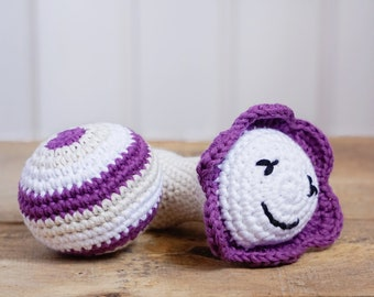 Set of two rattles - Ball and flower rattle - organic cotton crochet toys - purple and white