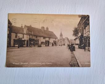 Vintage Wood Street Stratford-on-Avon Photograph Postcard --- Retro 1940's English Mail Souvenir --- 1945 U.S. Army World War II Collectible