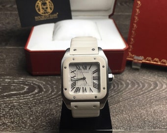 Cartier Santos 100 W20129U2 White Rubber & Stainless Steel