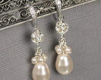 Teardrop Pearl Earrings, Pearl Bridal Jewelry, Rhinestone and Pearl Dangle Earrings, Wedding Earrings, White or Ivory Pearl Drop Earrings
