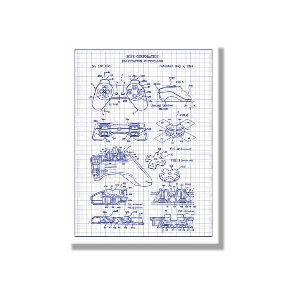 Playstation controller gaming patent poster blueprint like this item malvernweather Choice Image