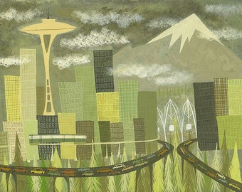 Seattle. Limited edition print by Matte Stephens.