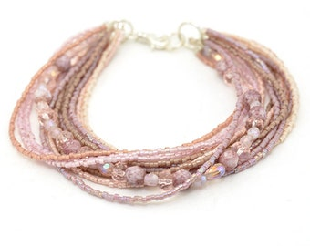 Boho Bead Bracelet | Plum Bead Bracelet | Ombre Bead Bracelet | Rose Seed Bead Bracelet