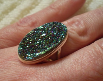 Titanium Drusy 925 Sterling Silver Ring Size 8.75