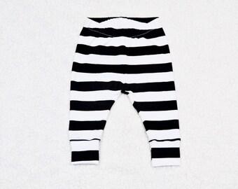 "Black and White 1"" Stripe Baby Cuff Leggings, Toddler Leggings, Boy/Girl Leggings, Baby Gift"