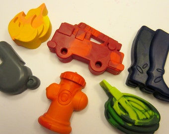 Set of 6 Fire Fighting Themed Crayons