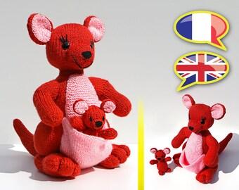 knitting pattern kangaroo, Mama, baby, amigurumi