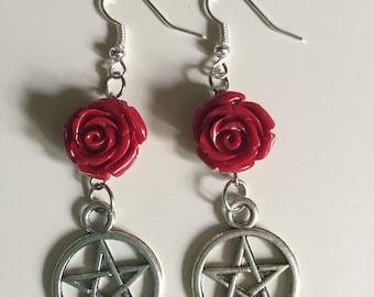 Rose Pentacle Earrings