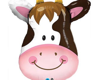 "Barnyard Party Decorations - 32"" Cow Balloon - Farm Birthday Party - Farm Animal Balloon - Barnyard Balloon - Farm Party"