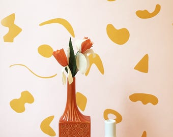 Removable Wallpaper // Shape Theory Peach and Mustard // Perfect for renters and DIY projects