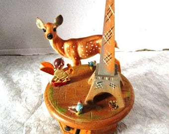 Vintage Wooden Music Box w/ Thorens Movement, Plays Mademoiselle de Paris, Revolving Scene w/ Eiffel Tower Angel Birds, Made in Switzerland