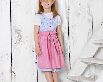 "Child-Growing Dirndl ""Charlotte"" color blue with apron"