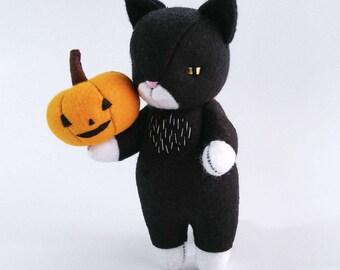 Halloween Decor Felt Kitty Doll, Black Tuxedo Cat Plush, Made to Order Cute Kawaii Cat Fell Plushie, Gift for Cat Lovers