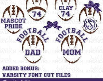 SALE! Football svg, dxf, eps, pdf, png, jpg | Proud Football Dad SVG | Proud Football Mom SVG | Football Monograms | Football Cut Files