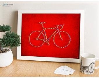 Bicycle Peloton Formation, Cycling Poster, Bike Art
