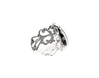 Cerulean Blue Sparkle Dome Adjustable Filgree Ring