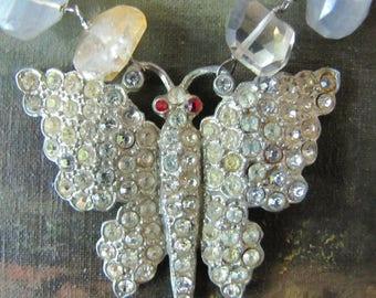 Antique Rhinestone Butterfly