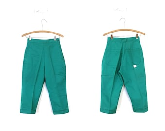 1950s Denim / 50s 60s Deadstock New Old Stock Kelly Green High Waisted Pedal Pushers