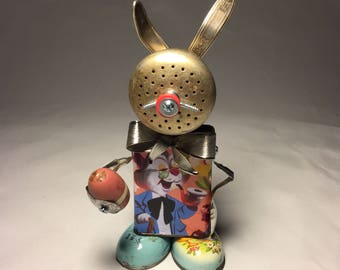 Peter Cot-Tin Tail • Assemblage Art Easter Bunny Robot Sculpture
