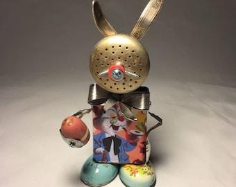 Peter Cot-Tin Tail •Assemblage Art Easter Bunny Robot Sculpture