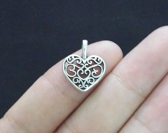 12 Heart Charms, Antique Silver Tone (1A-3)