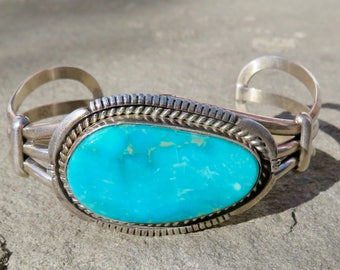 Turquoise Bracelet,Native American Turquoise Jewelry,Signed Navajo Turquoise Cuff,Navajo Turquoise,Navajo Jewelry,Turquoise Silver Bracelet