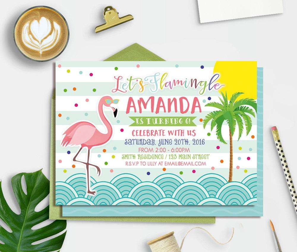 Flamingo Invitation Printable Flamingo Birthday Invitation