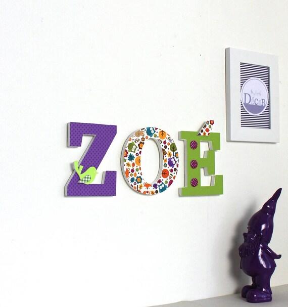 Nombre Zoe Letras decoradas tema de bosque madera verde