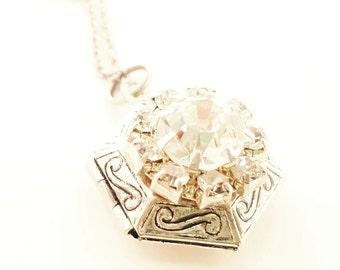 Locket Necklace - Bridesmaid Locket Necklace - Layering Necklace -Photo Locket -Vintage Locket -Silver Locket -Sterling Silver Necklace