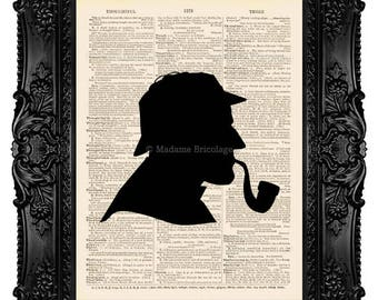 Sherlock Holmes Silhouette - Dictionary Art Print Vintage Upcycled Antique Book Page no. 258