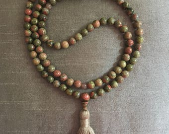 Unakite and Moonstone Mala 108 Beads // Prayer Beads // Mala Necklace // Natural Stones