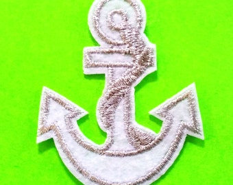 Anchor Embroidered White and Metallic Silver Iron or Sew On Patch