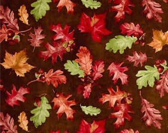Tossed Leaves Brown ~ Colors of Fall  Collection by Stephanie Marrott for Wilmington Fabircs, Fall Cotton Quilt