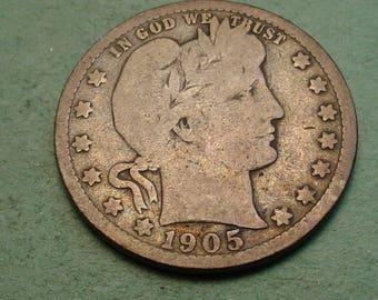 1905-S   Barber Quarter VG / Insurance included in SH  <>ET5391