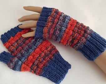 Womens Mittens - Ladies Fingerless Gloves - Hand Knitted Texting Gloves - Gifts for Her Blue/Red/Orange Rib Design Gloves - Ready to Ship -