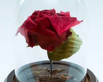 Origami rose in red steampunk inspired small decorative globe -Made to order