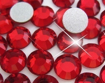 Dark Siam Red Crystal Glass Rhinestones - SS34, 288 pieces - 7mm Flatback, Round, Loose Bling
